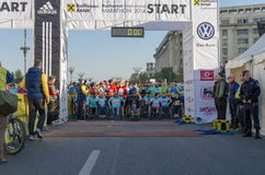 Athletes in wheelchairs at starting line royalty free stock photography