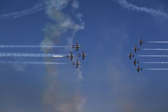 BUCHAREST italienisches demoteam Frecce Tricolori Lizenzfreie Stockfotografie