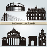 Bucharest landmarks and monuments. Isolated on blue background in editable vector file Stock Photos
