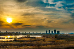 Bucharest landscape sunset view of aquatic ecosystem on old Vacaresti Lake Stock Photography