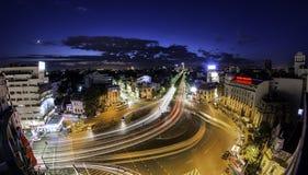 Bucharest linia horyzontu Piata Romana Fotografia Stock
