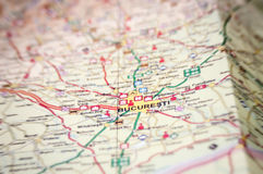 Bucharest on the map stock photo