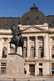 BUCHAREST - MARCH 17: Equestrian statue of Carol I in front of the Royal Palace. Photo taken on March 17, 2018 in Bucharest Stock Photo