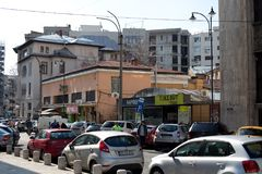 BUCHAREST - MARCH 17: George Enescu street in Bucharest. Photo taken on March 17, 2018. In Bucharest, Romania Stock Photos
