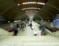 Bucharest metro. Inside Bucharest metro in Titan station, one of the largest metro station in town Royalty Free Stock Photo