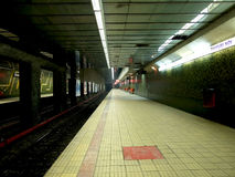 Bucharest metro. Inside Bucharest metro in an empty station Royalty Free Stock Image