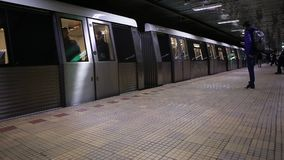 Bucharest Metro. A Bucharest underground transport system station stock video footage