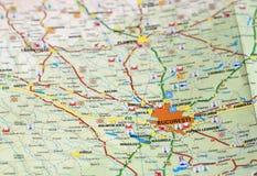 Bucharest na mapie - SUROWY format Obraz Stock