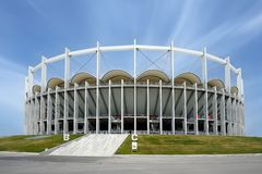 Bucharest National Arena before Europa league final game. Club Atletico de Madrid`s wins UEFA. BUCHAREST, ROMANIA - MAY 9, 2012: Bucharest National Arena before stock photography