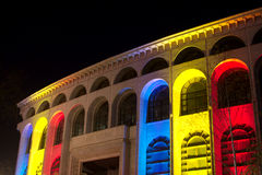 Bucharest National Theatre. In national colors in the night Stock Photos