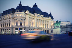 Bucharest at night. University Library in Bucharest at night royalty free stock photos