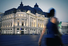 Bucharest at night. University Library in Bucharest at night stock photo