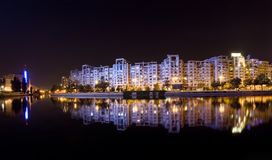 Bucharest at night. Bucharest night scene with Dambovita river, Romania Stock Photos
