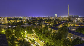 Bucharest at night. Berceni district in Bucharest at night. Capital city of Romania Stock Image