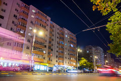 Bucharest in the night. Calea Mosilor buildings  in the night ,Bucharest,Romania Royalty Free Stock Photos