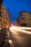 Bucharest by night - Calea Victoriei. Rush hour on Calea Victoriei boulevard in central Bucharest, Romania Royalty Free Stock Photography