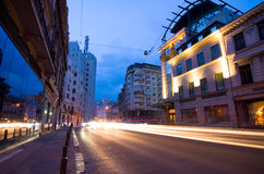 Bucharest by night - Calea Victoriei. Rush hour on Calea Victoriei boulevard in central Bucharest, Romania Stock Photography