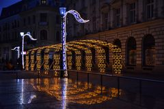 Bucharest night in December with Christmas decorations on Lipscani Street stock image