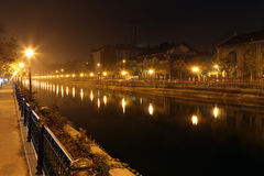 Travel Romania: Bucharest Dambovita river night Royalty Free Stock Photos