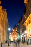 Bucharest by night - The Historic centre. Street in the Historic center of Bucharest by night stock image