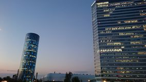 Bucharest by night - office buildings in Pipera district royalty free stock photography