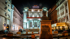 Bucharest at Night. Night scene. Odeon Theater in Bucharest, Romania Royalty Free Stock Photography
