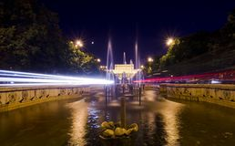 Bucharest night traffic. Night traffic in front of the the House of Parliament,Bucharest, Romania Stock Photography
