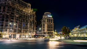 Bucharest night traffic time lapse 4K video, Romania stock video footage
