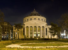 Romanian Atheneum Nightscene Stock Photos