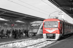 Railway station platforms (selective color isolation). Some busy platforms of the Bucharest North Railway Station. Bucharest North Railway Station is royalty free stock photography