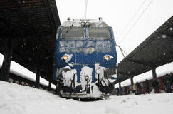 BUCHAREST NORTH RAILWAY STATION  BY WINTER Royalty Free Stock Photos