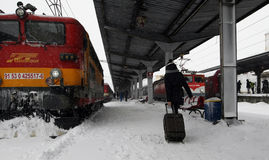 BUCHAREST NORTH RAILWAY STATION  BY WINTER Stock Images