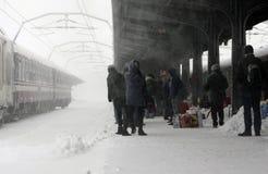 BUCHAREST NORTH RAILWAY STATION  BY WINTER Stock Photos