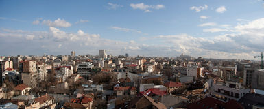 Bucharest old center city panorama. Bucharest, capital city of Romania panoramic view from one of it's highest buildings. Photo shows old buildings in the Calea stock photos