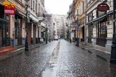 Bucharest old street. View of covaci street in bucharest old town Royalty Free Stock Photography