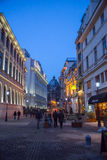 Bucharest Old Town night scene Stock Photo