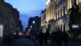 Bucharest Old Town night scene stock footage