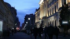 Bucharest Old Town night scene stock footage