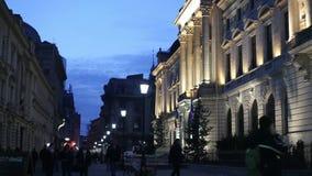 Bucharest Old Town night scene stock video footage