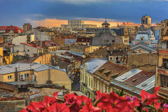 Bucharest old town at sunset Stock Image