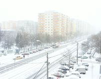 Bucharest orange and yellow code snow and blizzard Stock Photography