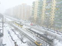 Bucharest orange and yellow code snow and blizzard royalty free stock photo