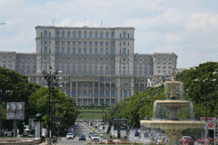 The Bucharest Palace of Parliament. Romania, front wide angle view royalty free stock photo