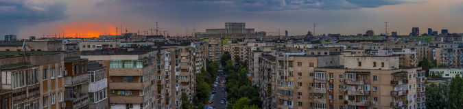 Bucharest Panorama at sunset Stock Photo