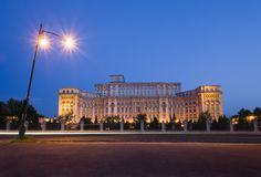Bucharest Parliament building at night Royalty Free Stock Images
