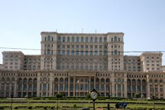 Bucharest Parliament Building in Romania. In the summer time royalty free stock photo