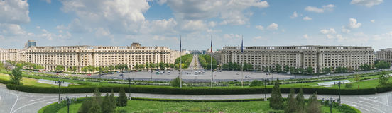 Bucharest Parliament Square. Panorama of Parliament Square in Bucharest and Unirii Bulevard seen from Parliament Palace, Casa Poporului Royalty Free Stock Image