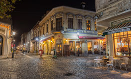 Bucharest piękne zaświecać ulicy w dontown Zdjęcie Stock