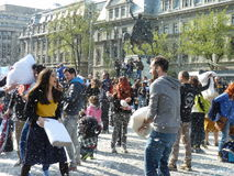 Bucharest Pillow Fight 2016 Royalty Free Stock Photo