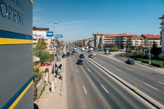 Bucharest-Ploiesti national route from abovfe royalty free stock photo